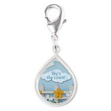 Skys the Limit Picket Fence Silver Teardrop Charm