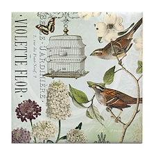 Modern vintage French birds and birdcage Tile Coas