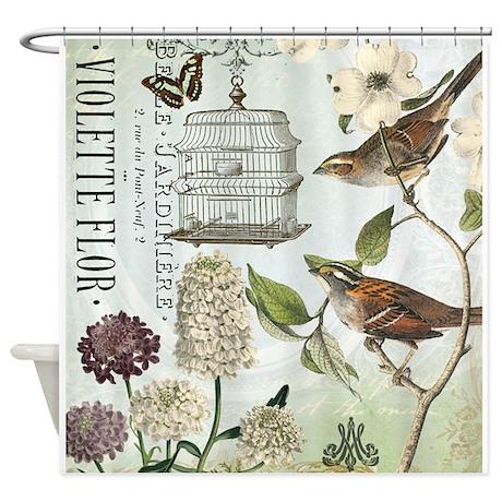 modern vintage french birds and birdcage shower cu