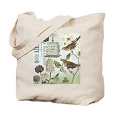 Modern vintage French birds and birdcage Tote Bag