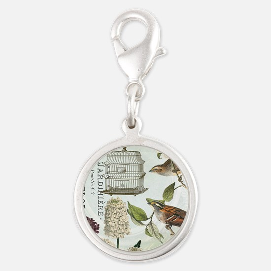 Modern vintage French birds and birdcage Charms