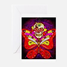 Skull with Butterfly Wings! Greeting Cards (Pk of