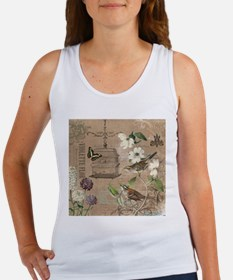Modern vintage French birds and birdcage Tank Top