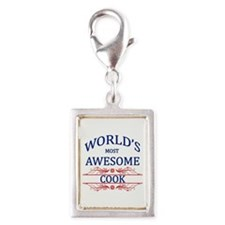 World's Most Awesome Cook Silver Portrait Charm