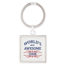 World's Most Awesome Cook Square Keychain