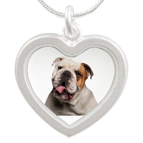 Bulldog Silver Heart Necklace