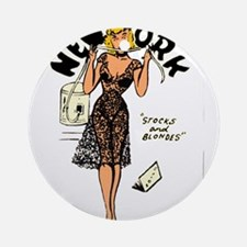 Vintage New York Pinup Ornament (Round)