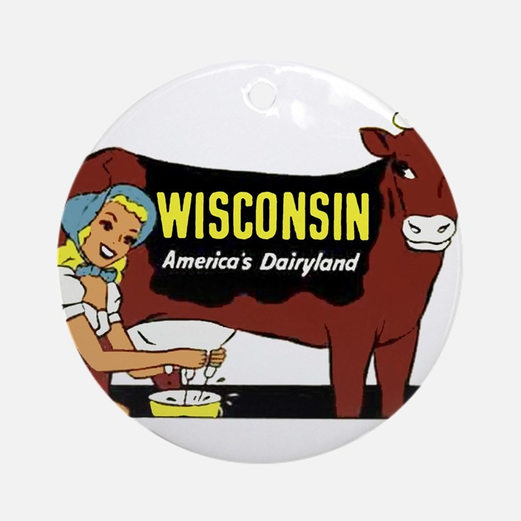 Vintage Wisconsin Dairyland Ornament (Round)