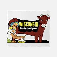Vintage Wisconsin Dairyland Throw Blanket