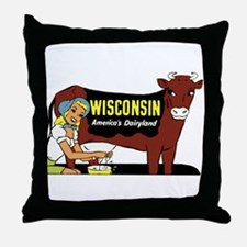 Vintage Wisconsin Dairyland Throw Pillow