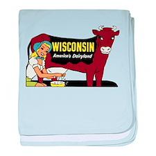 Vintage Wisconsin Dairyland baby blanket