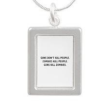 Guns Kill Zombies Silver Portrait Necklace