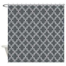 Gray Moroccan Quatrefoil Shower Curtain