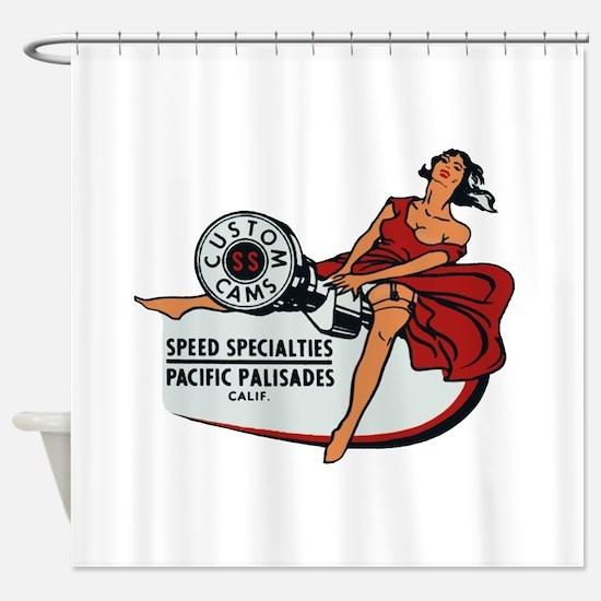 Vintage Custom Cam Pinup Shower Curtain