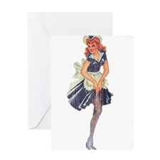 Faded Pinup Maid Greeting Card