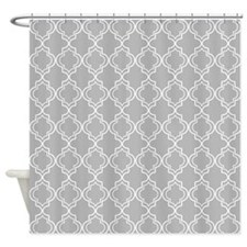 Light Gray Moroccan Quatrefoil Shower Curtain