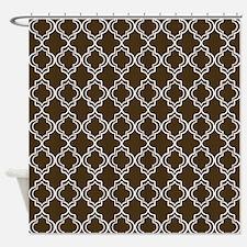 Brown Moroccan Quatrefoil Shower Curtain