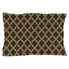 Brown Moroccan Quatrefoil Pillow Case