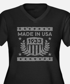 Made In USA 1933 Women's Plus Size V-Neck Dark T-S