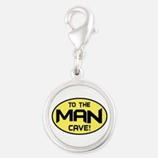 To The Man Cave! Silver Round Charm