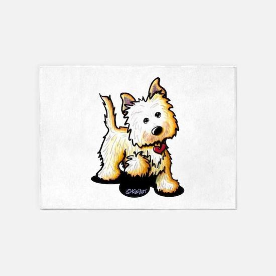 Playful Cairn Terrier 5'x7'Area Rug