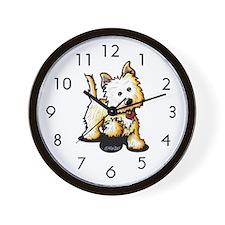 Playful Cairn Terrier Wall Clock