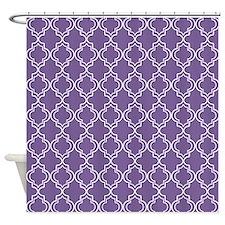 Medium Purple Moroccan Quatrefoil Shower Curtain