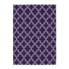 Dark Purple Moroccan Quatrefoil 5'x7'Area Rug