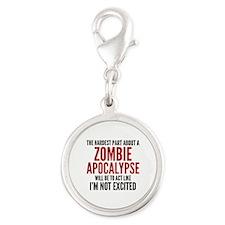 Zombie Apocalypse Silver Round Charm