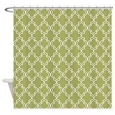 Medium Olive Moroccan Quatrefoil Shower Curtain