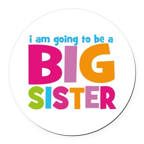 Big Sister Personalized Round Car Magnet
