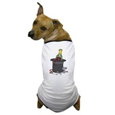 Champagne in Hat Happy New Ye Dog T-Shirt