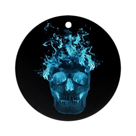 Blue Fire Skull Ornament (Round)