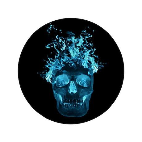 """Blue Fire Skull 3.5"""" Button"""