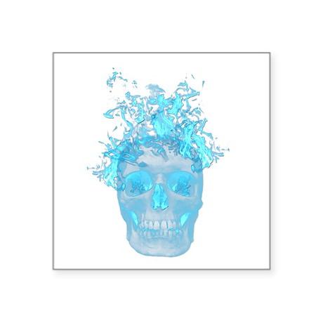 Blue Fire Skull Sticker