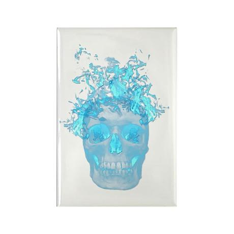 Blue Fire Skull Rectangle Magnet (10 pack)