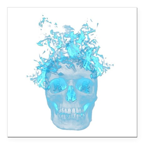 "Blue Fire Skull Square Car Magnet 3"" x 3"""