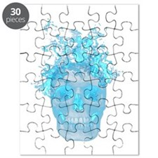 Blue Fire Skull Puzzle