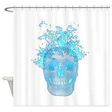 Blue Fire Skull Shower Curtain