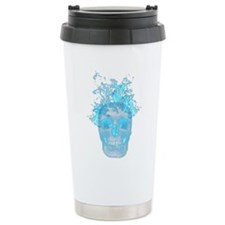 Blue Fire Skull Travel Mug