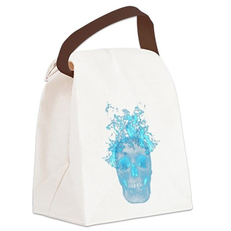 Blue Fire Skull Canvas Lunch Bag