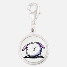 Easter Bunny Silver Round Charm