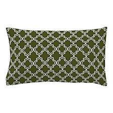 Dark Olive Green Moroccan Quatrefoil Pillow Case