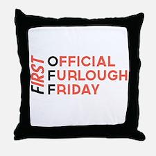 First Official Furlough Friday Logo Throw Pillow