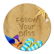 Beach Follow Your Bliss Round Car Magnet