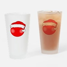 Smiley Red Santa Drinking Glass