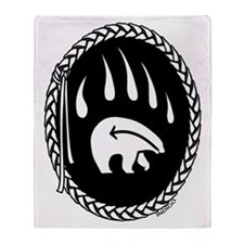 Native Art Tribal Bear Throw Blanket