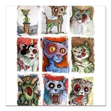 """9 zombie cats Square Car Magnet 3"""" x 3"""""""