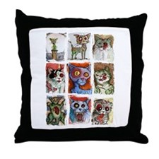 9 zombie cats Throw Pillow