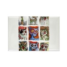 9 zombie cats Rectangle Magnet